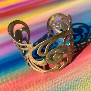 Jewelry - Filigree pattern distressed golden cuff bracelet